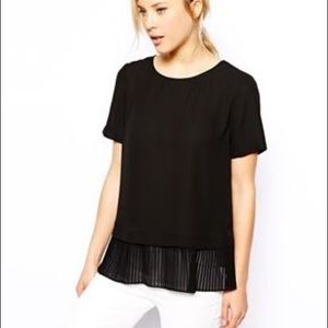 Asos pleated black blouse top